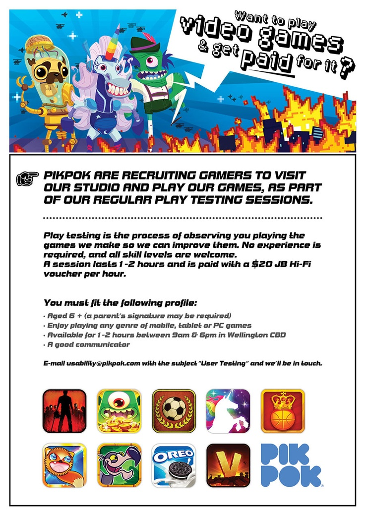 Are you in Wellington? Do you want to be part of the PikPok magic? We're always after usability testers to come in and help out.