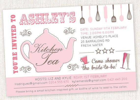 kitchen tea shower invitations shower tea by