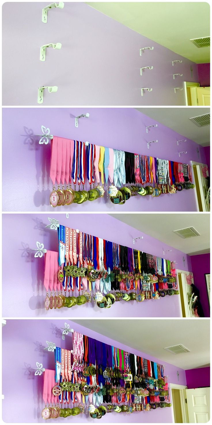 How to display sports medals easy and inexpensive.                                                                                                                                                                                 More