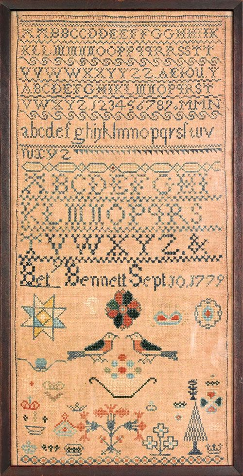 """Silk on linen needlework sampler wrought by Bety Bennett 1779, with alphabet, songbirds, and trees, 15 1/2"""" x 7 1/2""""."""