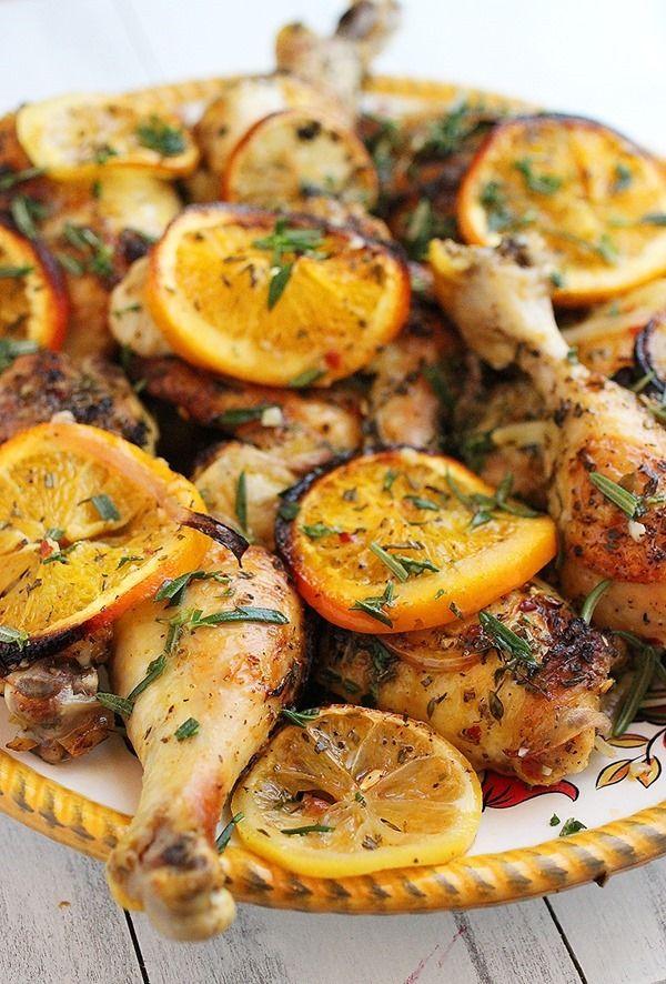 Poulet au four herbes et citron-orange