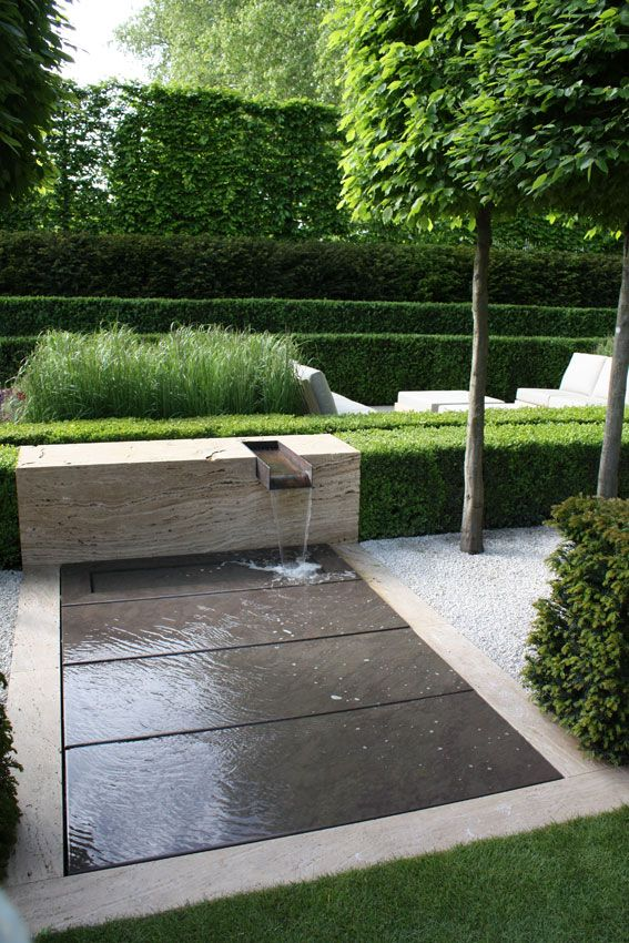 simple fountain you can walk through, gives water sound and look with managed details.