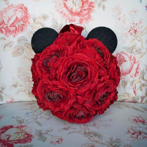 Mickey Mouse Pomander, #disney wedding, Red Ranunculus Wedding Pomander by @Kate Said Yes (Kate), www.katesaidyes.etsy.com