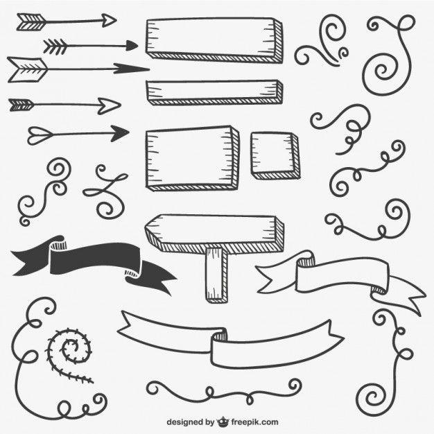 Sinais e setas caligráficos