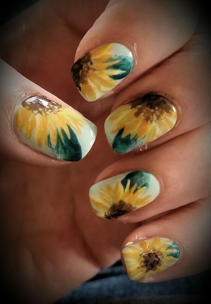 My Van Gough sunflower indpired nails - Imgur