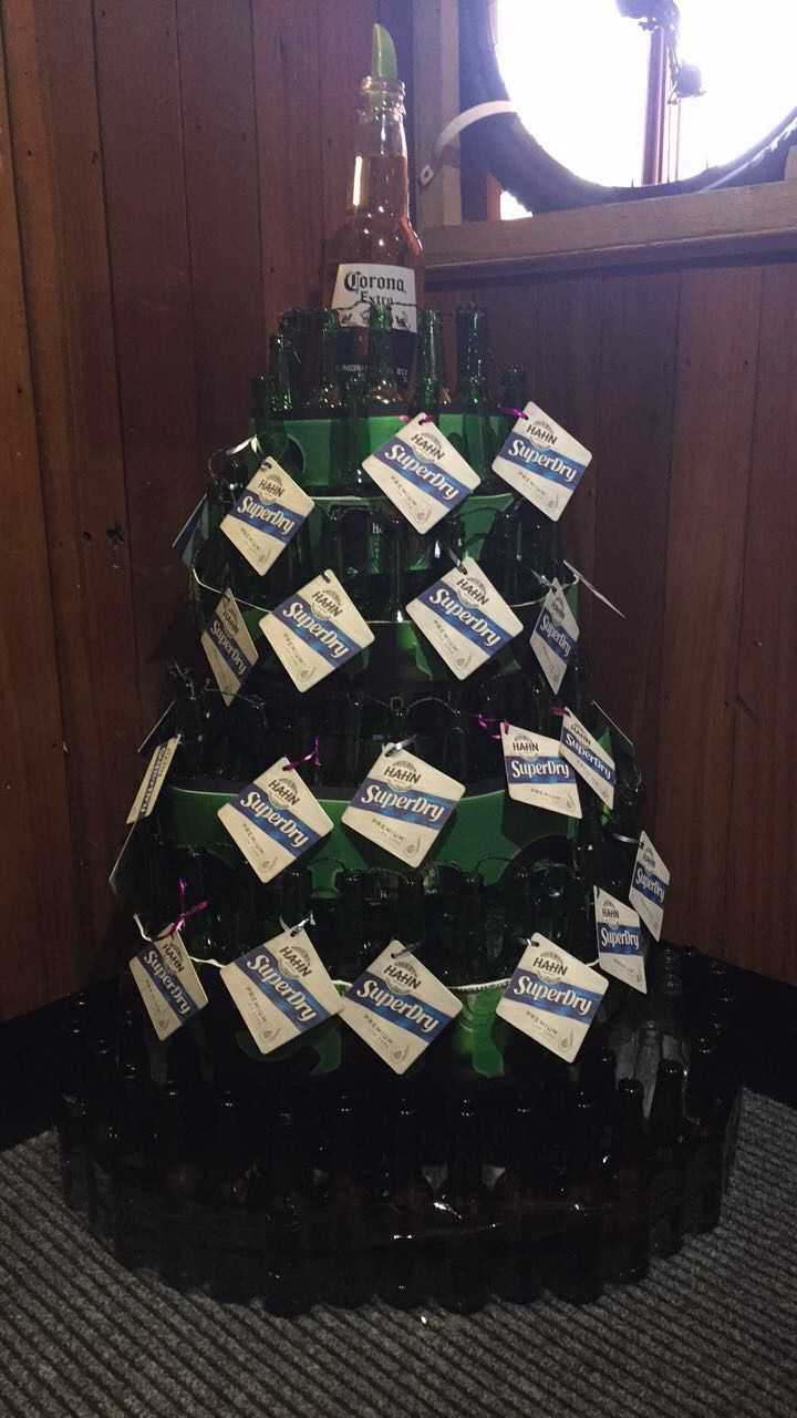 Beer bottle Christmas tree at work