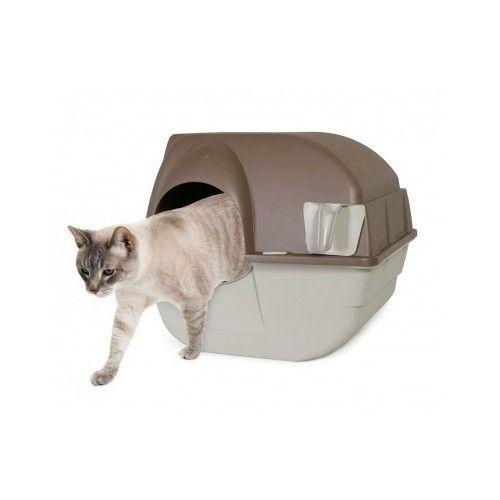 Cat Litter Box Kitty Luxury Brown Self-Cleaning Pet Automatic Medium Waste Bin