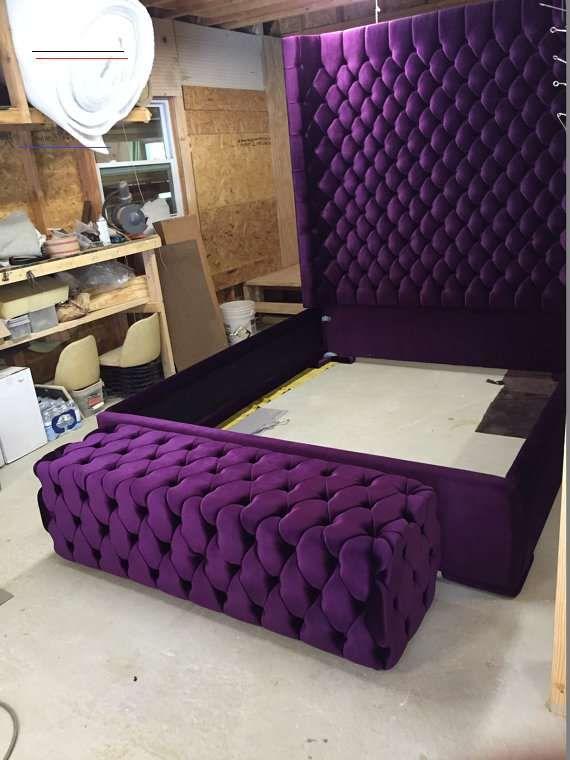 Purple Tufted Headboard Full Velvet Set Upholstered Twin Simple