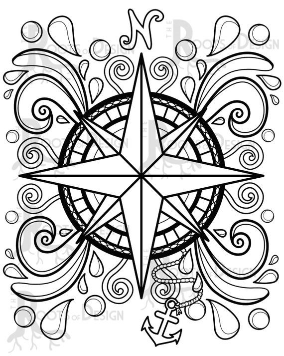 Instant Download Coloring Page Compass Design Doodle Art Etsy Compass Design Mandala Coloring Pages Coloring Pages