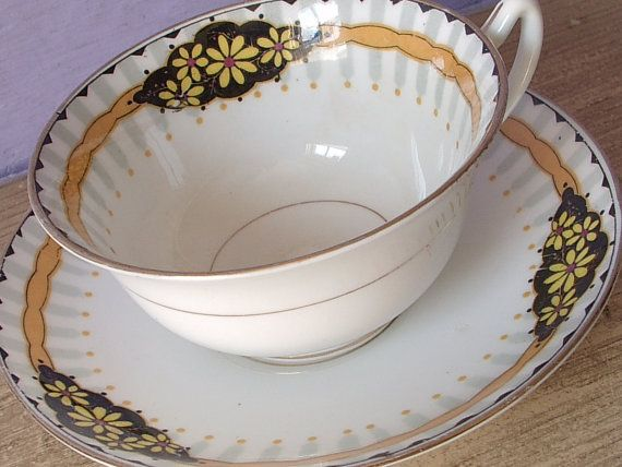 Antique 1920's Star Paragon china tea cup and saucer, black and orange tea cup…
