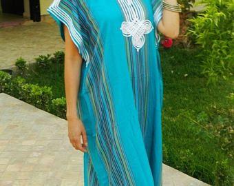 Lautomne saumon rose Caftan Maxi robe-Karima Style-vêtements