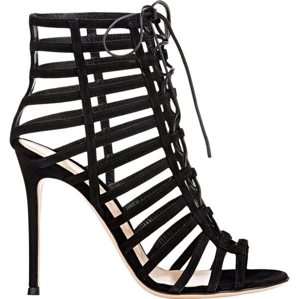 Gianvito Rossi Women's Caged Lace-Up Sandals ($1,295) ❤ liked on Polyvore featuring shoes, sandals, heels, sapatos, chaussures, colorless, heeled sandals, lace up heel sandals, black high heel sandals and black heel sandals