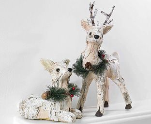 Pair of Birch Reindeer