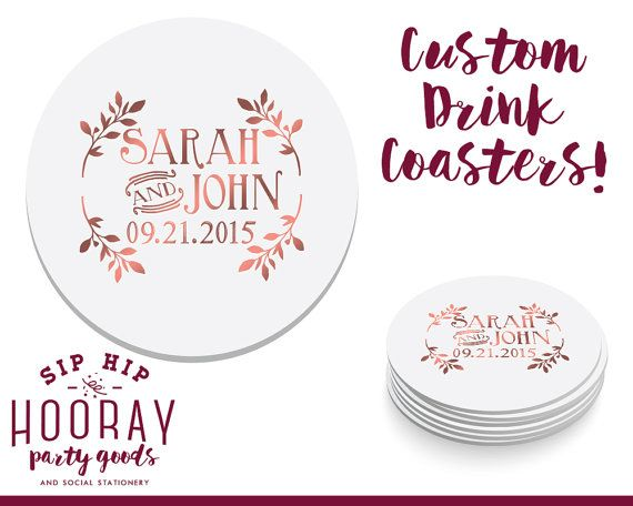 Floral Wedding Coasters Wedding Favors Coasters Personalized Coasters Custom Wedding Gift Wedding Favors Monogrammed Bridal 1138 by SipHipHooray