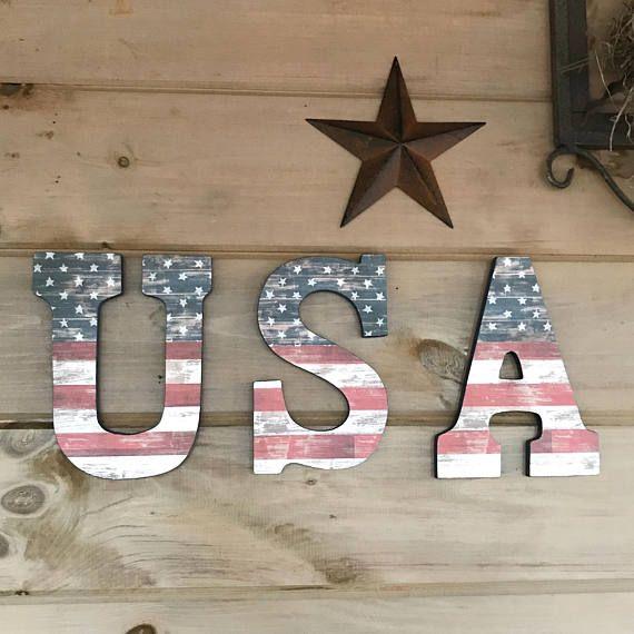 9 X 20 Usa Drapeau Americain Rustique Lettre Murales Rustic American Flag Rustic American Flag Decor Rustic Letters