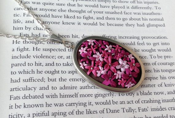 Embroidered Bright Pink and Brown Flower by BeanTown Embroidery, handmade necklace beaded flower