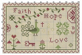 Free cross stitch sampler faith, hope, love ~ Great primitive peacock, hearts, flowers, key, vine and berries motifs.