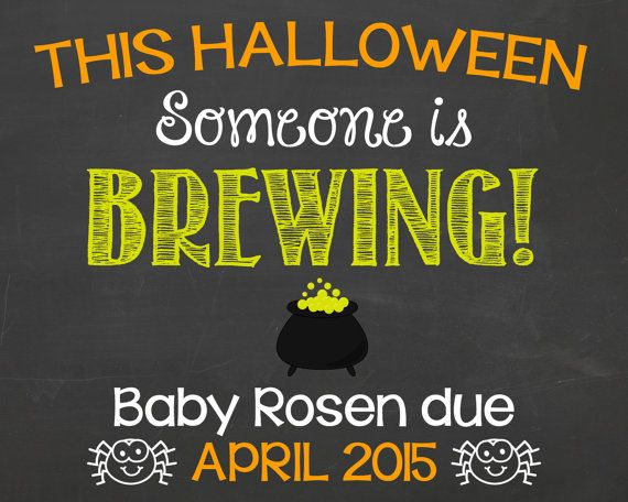 Halloween Pregnancy Announcement Chalkboard by PersonalizedChalk, $10.00