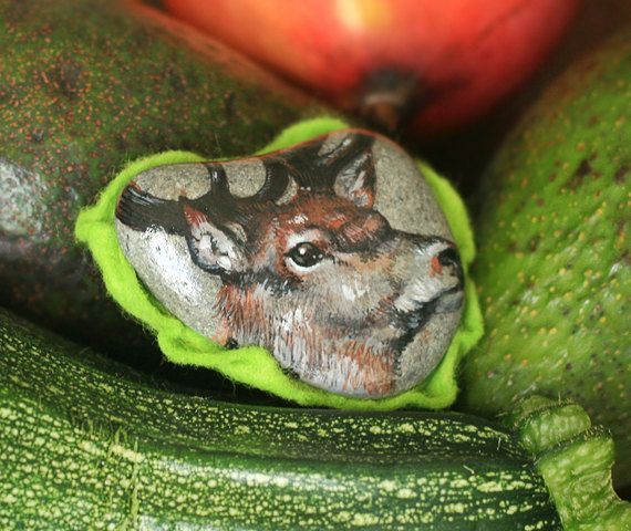 Stone brooch with hand-painted deer jewelry deer by SkadiaArt