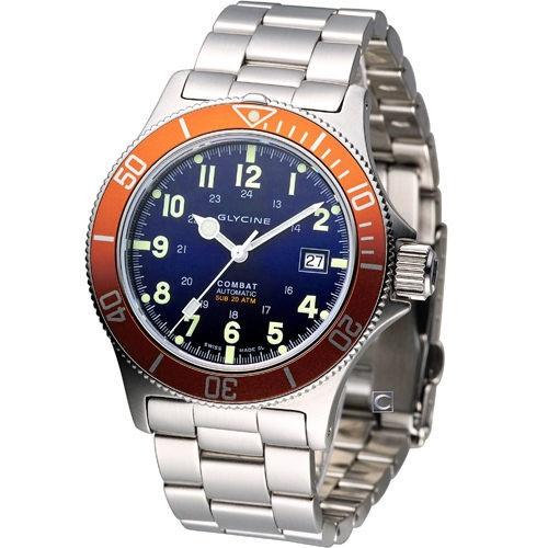 Glycine combat sub automatic watch dark blue - Orange dive watch ...