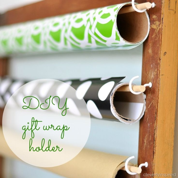 DIY gift wrap holder @cleverlyinspired (5) I'd probably make the wooden dowels a little longer and add colorful erasers to the ends.