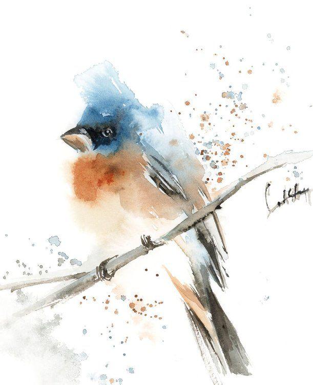 Bluebird Watercolor Painting In 2020 Watercolor Bird Bird Art