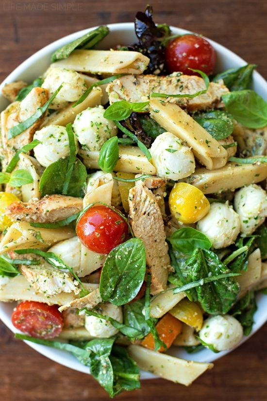 Chicken Caprese Pasta Salad with Pesto Dressing | lifemadesimplebakes ...