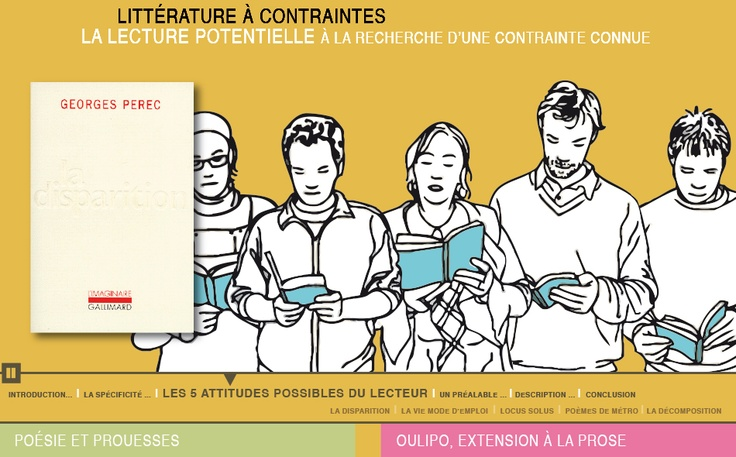 http://www.lairedu.fr/litterature-a-contraintes/  Trois modules interactifs sur la littérature à contraintes du VIIIe siècle à aujourd'hui.