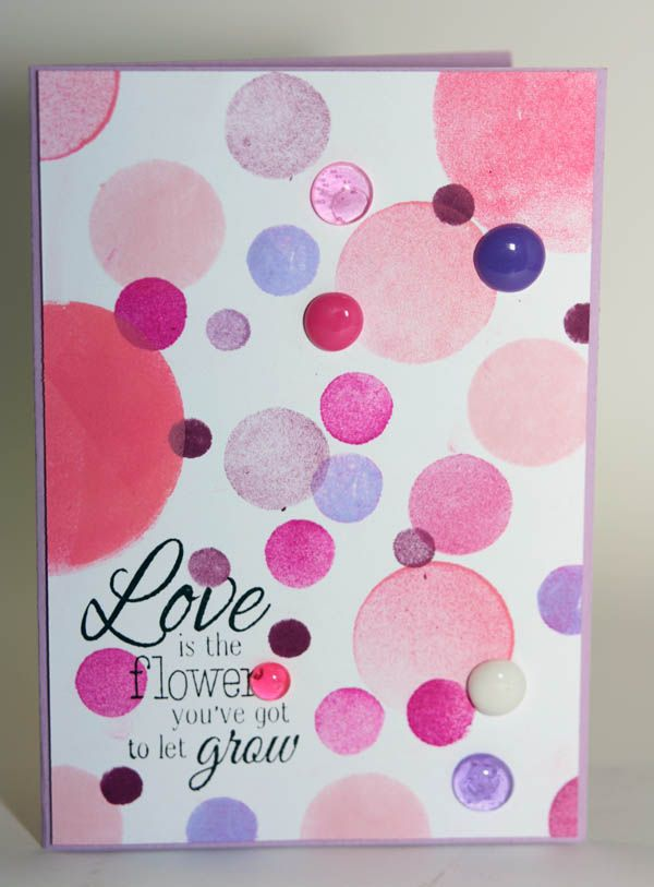 """love is the flower you've got to let grow"" from Joy Craft Cherry blossom tree stampset, homemade enamel dots and bokeh effect like stamping with round foam die cuts"