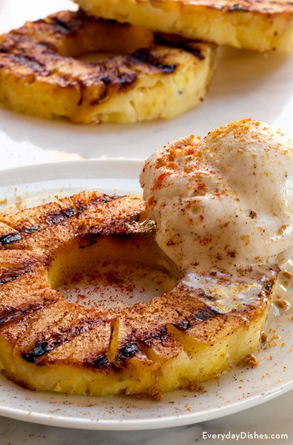 No need to heat up your kitchen with this recipe–fire up the grill instead! Treat your guests to an unexpected surprise by serving a grilled pineapple dessert with crushed gingersnaps. Grilling the pineapple will caramelize the sugars and turn it golden brown.