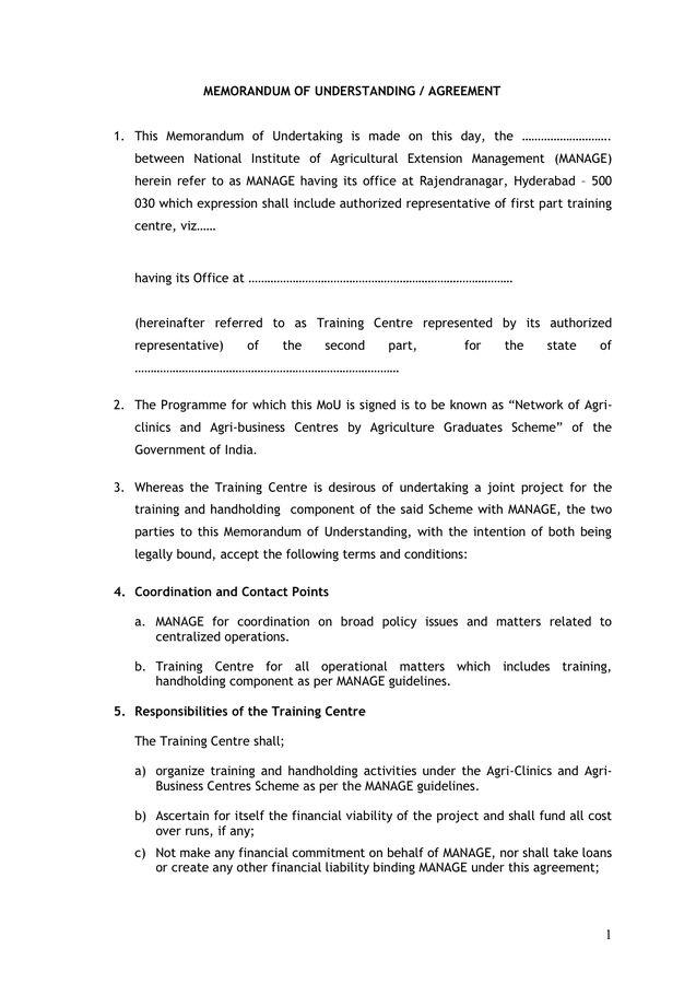 Memorandum Of Understanding Agreement In Word And Pdf Formats In Template For Memorandum Of Understanding In Bus Memorandum Business Template Proposal Letter
