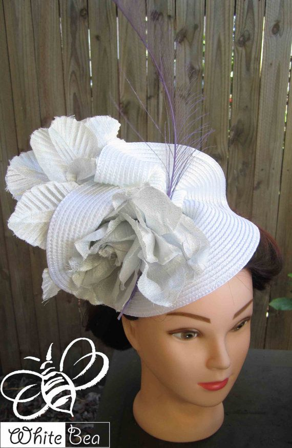 White Fascinator with silver material flowers by WhiteBea on Etsy, $63.00