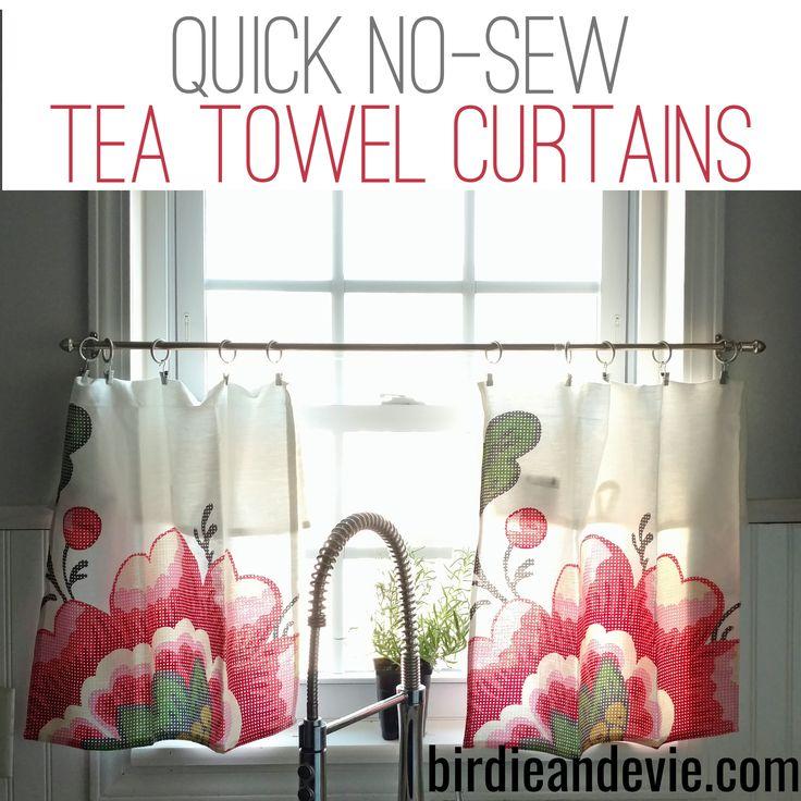 Quick No Sew Tea Towel Curtains A Super Quick Way To
