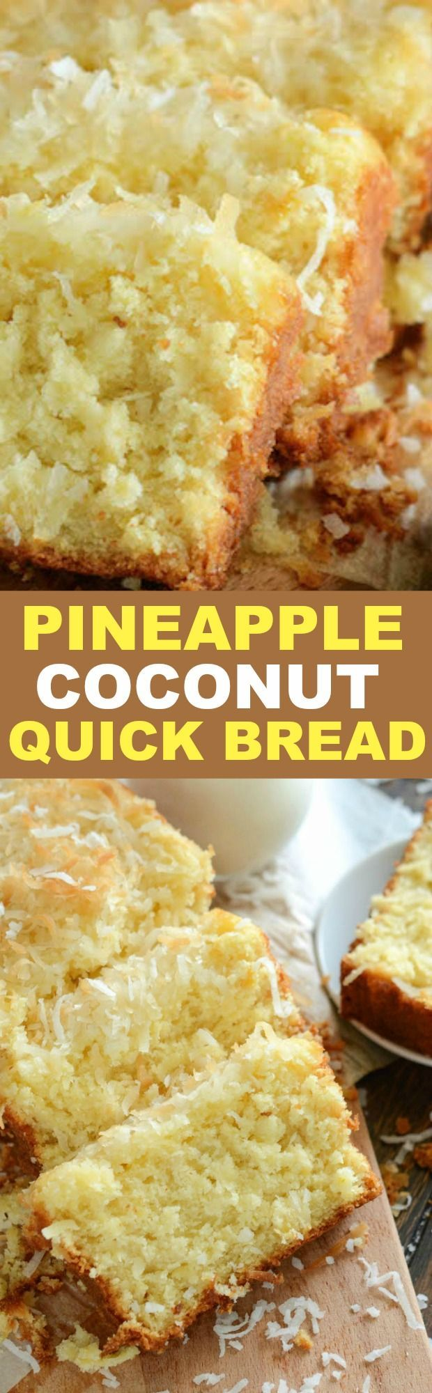 Pineapple Coconut Quick Bread: this sweet tropical quick bread is full of flaky coconut, bites of pineapple, and it can be served for breakfast or dessert!