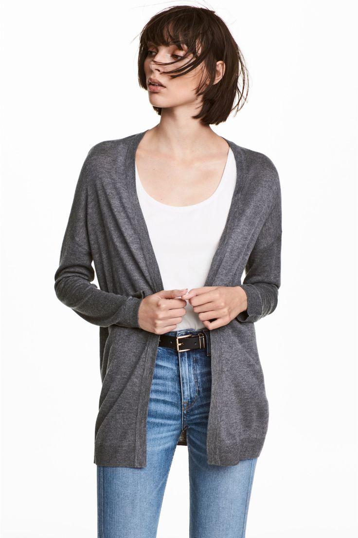 Cardigan tricotat fin - Gri - FEMEI   H&M RO 1