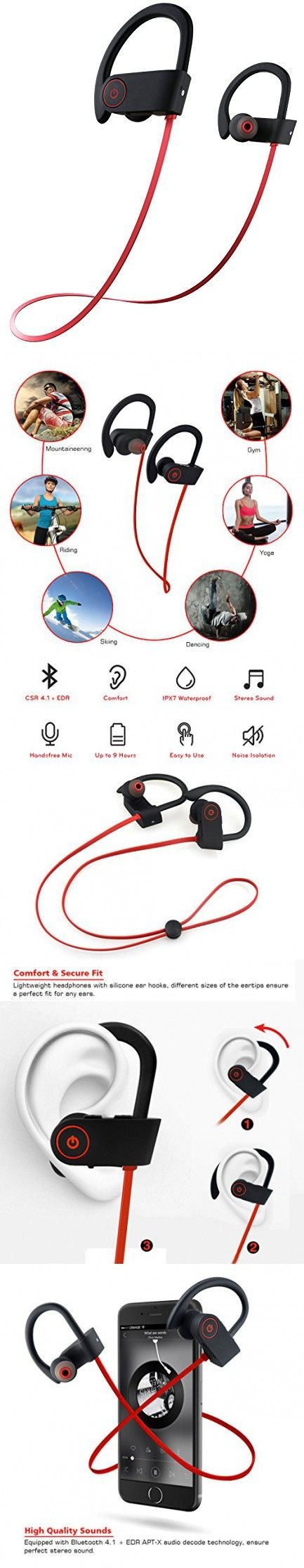 Bluetooth Headphones,Best Wireless Sports Earphones with Mic IPX7 Waterproof Ergonomic Stable Fit In Ear Earbuds Sweatproof Noise Isolating Stereo Headset 9-Hour Woriking Time for Running Workout Gym