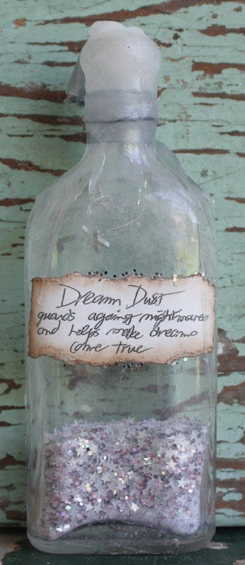 """Dream Dust – guards against nightmares and helps dreams come true, one of my most fave ever, so dear, about 6"""" in a vintage bottle (bottles vary due to age and one of a kind nature) 58"""