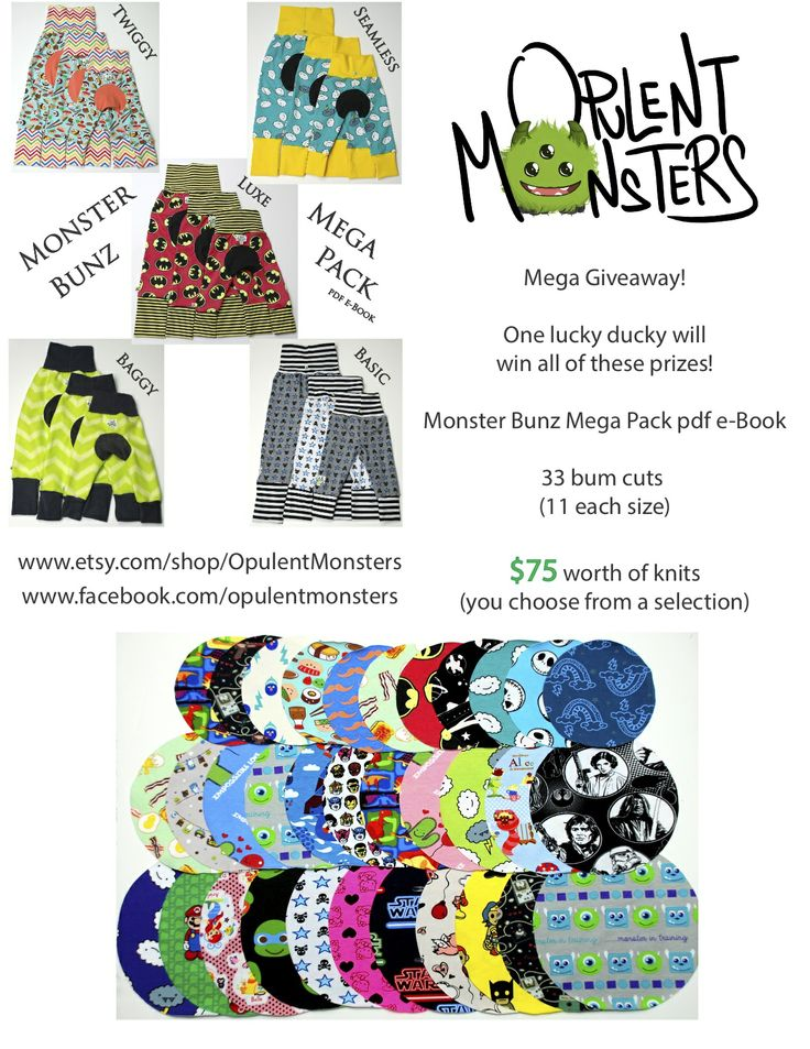 Mega Giveaway!  Monster Bunz Mega Pack pdf sewing pattern, 33 bum cuts, and $75 worth of knit fabric (winner's choice).
