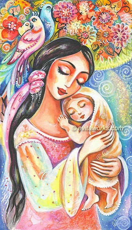 Mother and Child Painting Mother and Baby Painting by evitaworks, $16.00