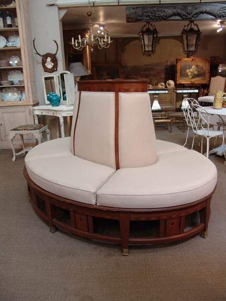 French Vintage Oval Lobby Coach Sofa Sold Settees