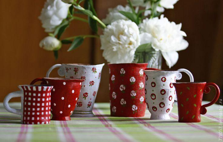 """Купить набор кружек """"Чай с вишневым вареньем"""" - бордовый, кружка, кружки, чашка, чай, варенье"""