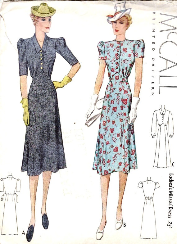 you could update this 1930s vintage sewing pattern by shortening the length and sleeves to make a beautiful tea dress