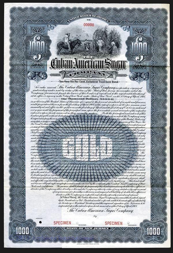 Cuban-American Sugar Co. 1908. - Archives International Auctions