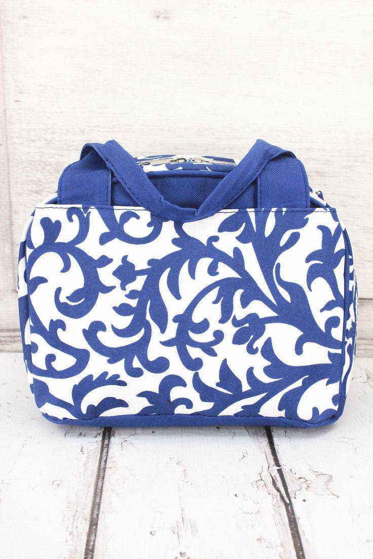 Royal Blue Ivy Damask  Insulated Lunch Bag/ Bowler Type Lunch Bag/ Insulated Lunch Bag for Women/ Insulated Lunch Bag Nurse