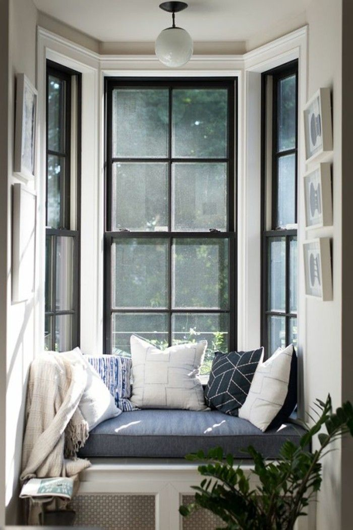 deco cocooning, banc bleu, coussins décoratifs, grandes fenêtre, plante verte