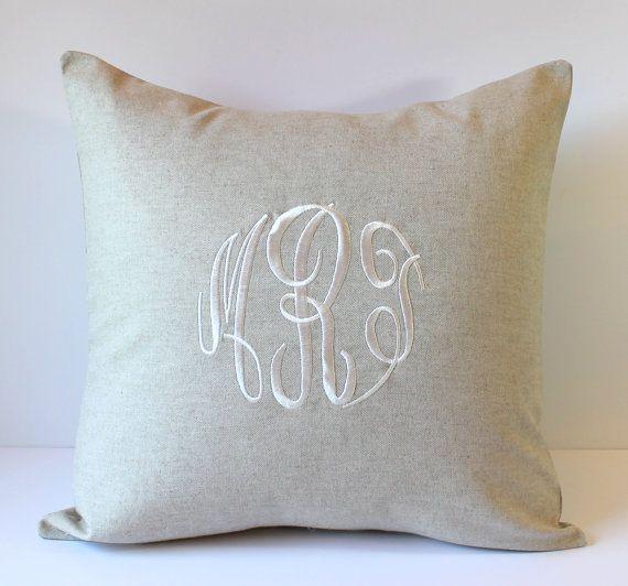 Monogrammed Pillow Cover. NATURAL LINEN. Monogram Decorative Pillow 18 x 18. Wedding Gift ...