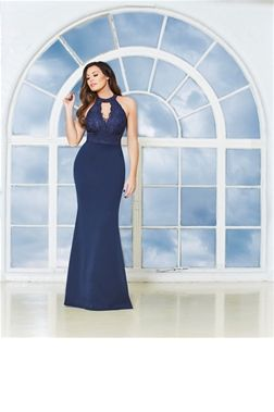 Jessica Wright Avani Navy Lace Maxi Dress  £85.00 This elegant navy maxi dress will stand out at any evening event. The sexy cutout back and choker neck detail add a bit of edge to a classic gown. Style with an updo and bold lip.   Colour: Navy