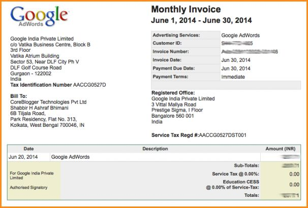 if you want to know about google adword invoice then contact our technical support team