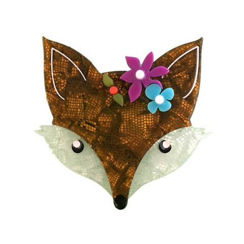 "Erstwilder Limited Edition Flora Fox Face Brooch. ""Meet Flora - she's all prepared for a Summertime love-in - should she decide to go to San Francisco."