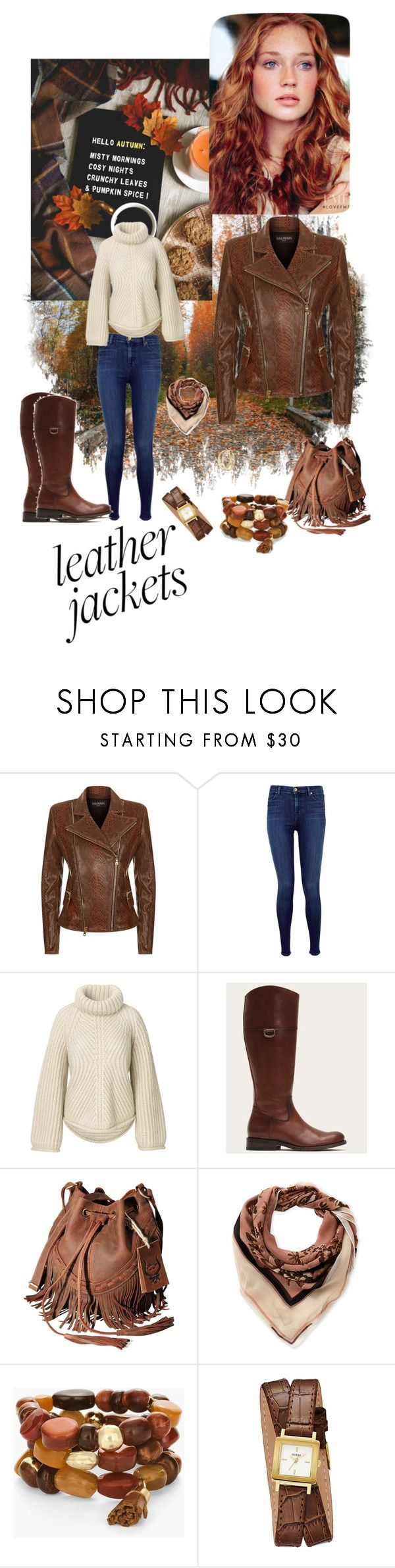 """""""Leather jackets"""" by cindy-allaby ❤ liked on Polyvore featuring Balmain, J Brand, Frye, Vince Camuto, Chico's, GUESS and Charlotte Russe"""